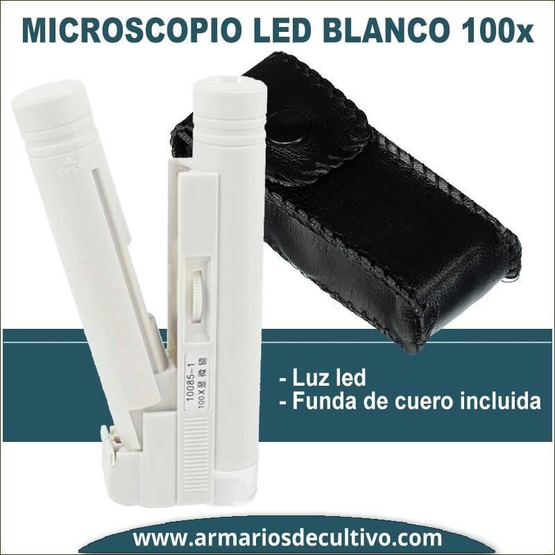Microscopio blanco 100x con luz Led