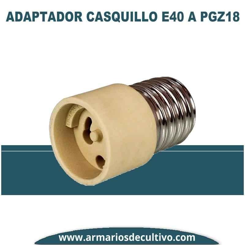Adaptador Casquillo E40 a PGZ18 para lámparas LEC