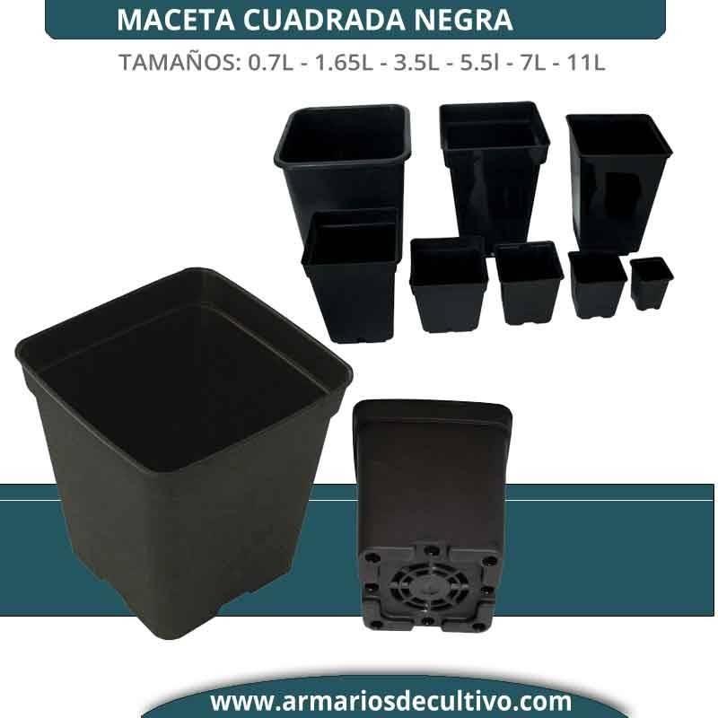 maceta cuadrada negra (0.23l - 1.65l - 3.65l - 5.5l - 7l - 11l -20l)