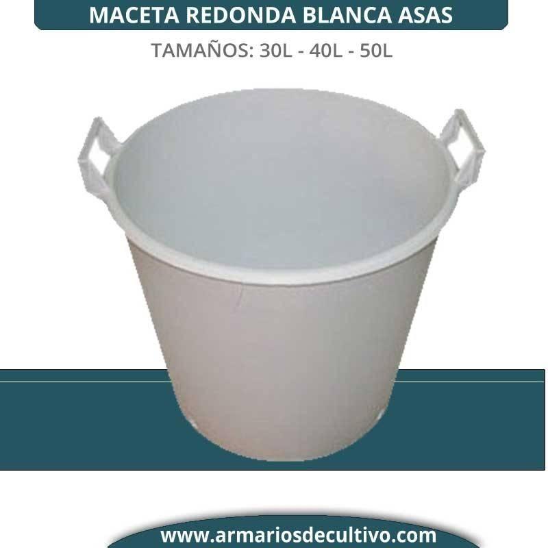 Maceta Redonda Blanca Asas