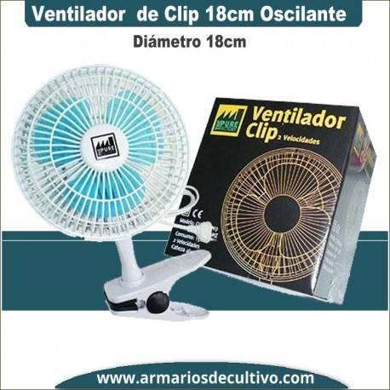 Ventilador de Clip Oscilante 18 cm Pure Factory